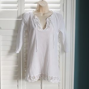 New York & Co. XS White Long Sleeve Boho Top